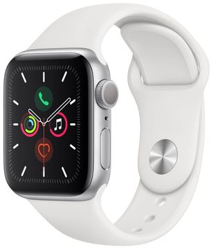 Apple Watch Series 5 GPS, 40mm Silver Aluminium Case with White Sport Band mwv62hc/a